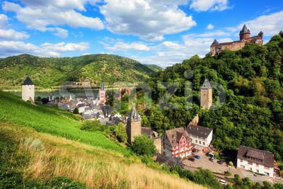 Bacharach, Germany, romantic town in Rhine river valley Stock Photo