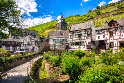 Half-timbered houses in Bacharach town, Germany Stock Photo