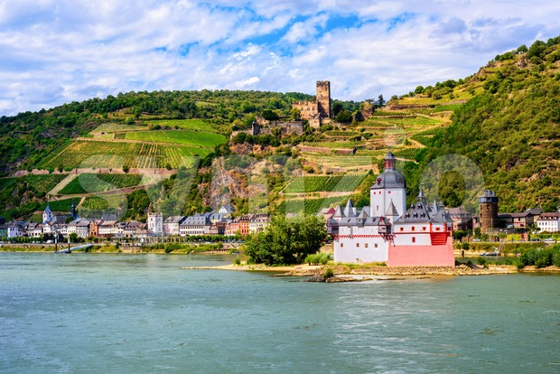 Pfalzgrafenstein castle on Rhine river, Kaub by Bacharach, Germany Stock Photo