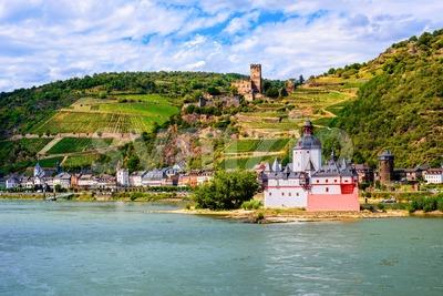 Pfalzgrafenstein castle on Rhine river, Kaub by Bacharach, Germany Stock Photo
