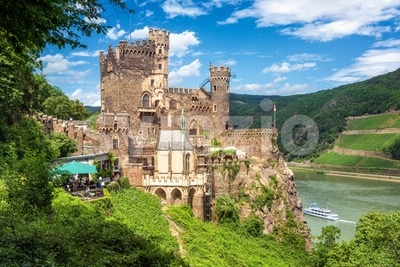 Burg Rheinstein castle on Rhine river in Germany Stock Photo