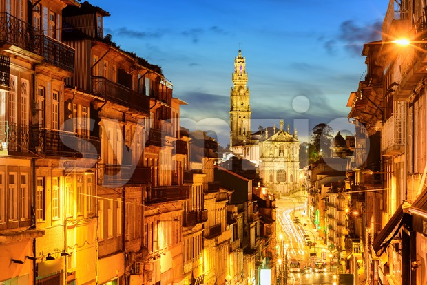 Porto town with Dos Clerigos cathedral at night, Portugal Stock Photo