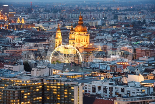 Budapest city center, Hungary, with St. Stephen's Basilica illuminated at late evening hour