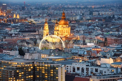 St. Stephen's Basilica in Budapest city, Hungary, at night Stock Photo
