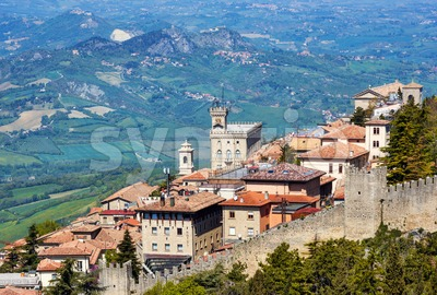 San Marino Old town and city walls, Republic of San Marino Stock Photo