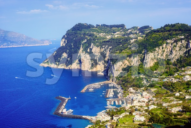 Capri island off mediterranean coast by Naples, one of the most popular tourist destinations in Italy