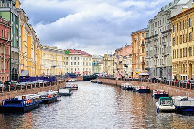 St Petersburg, view over Moyka river from Nevsky prospekt Stock Photo