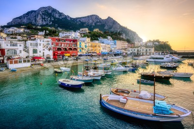Marina Grande port on Capri Island, Italy Stock Photo
