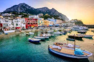 Marina Grande port on Capri Island, Italy Stock Photo
