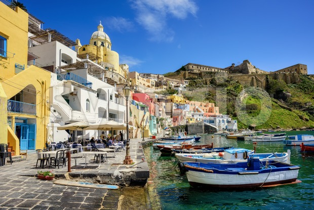 Procida island, Italy, Marina di Corricella seaside Stock Photo