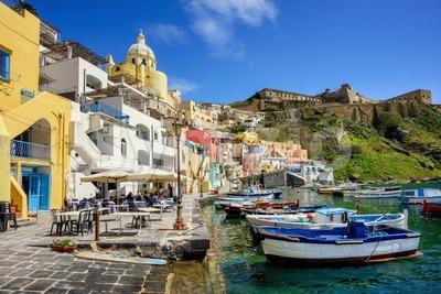Procida island, Italy, Marina di Corricella seaside Stock Photo