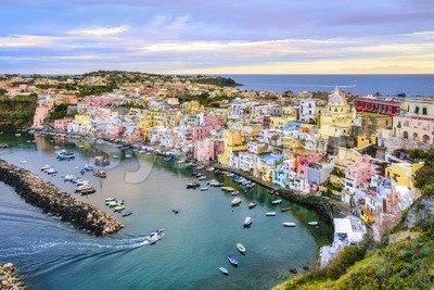 Procida island, Naples, Italy, on sunrise Stock Photo
