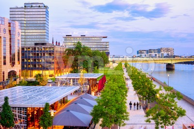 Rheinboulevard riverside walk in Cologne city, Germany Stock Photo