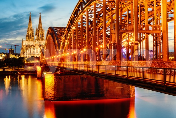 Hohenzollern Bridge and Cathedral in Cologne city center, Germany