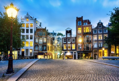 Amsterdam city, traditional houses in the town center, North Holland, Netherlands Stock Photo