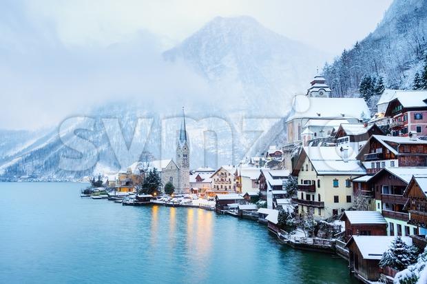Hallstatt village in winter, Austria Stock Photo