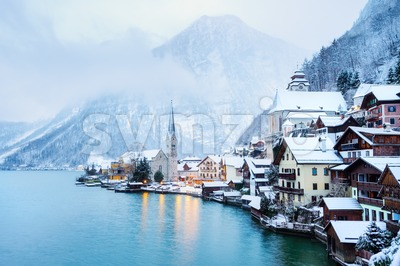 Hallstatt village in winter, Austria Stock Photo