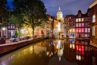 Amsterdam city center at night, Netherlands Stock Photo