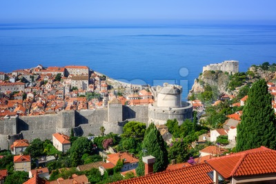 Dubrovnik medieval old town and city walls, Croatia Stock Photo