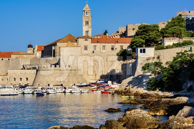 Dubrovnik, Croatia, city walls and tower of Dominican monastery Stock Photo
