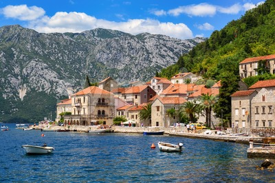 Perast town in Kotor bay, Montenegro Stock Photo