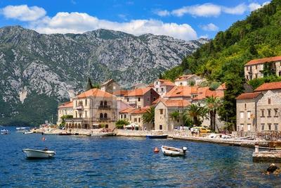 Perast town in Kotor bay, Montenegro Stock Photo
