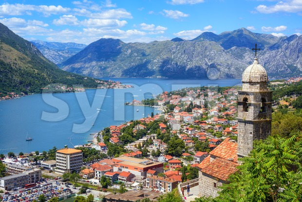 Kotor Old town and the Kotor bay, Montenegro Stock Photo