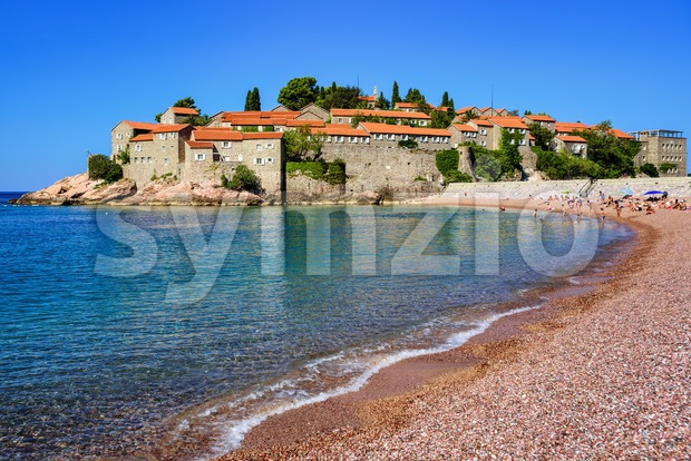 Sveti Stefan island and pink sand beach, Montenegro Stock Photo