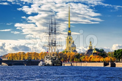 St Petersburg, Russia. Sailing ship anchored by the Peter and Paul Fortress. Stock Photo