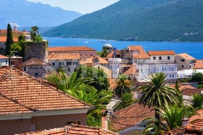 Herceg Novi Old town in Kotor bay, Montenegro Stock Photo