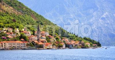Perast town in Kotor bay, Balkan mountains, Montenegro Stock Photo