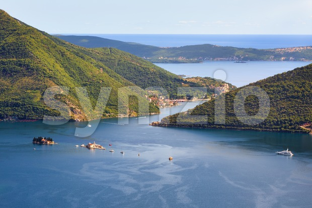 Kotor bay and Adriatic sea landscape in Montenegro Stock Photo