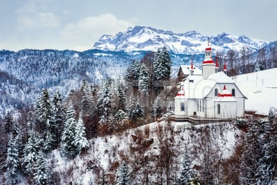 Hergiswald church in swiss Alps, Lucerne, Switzerland Stock Photo