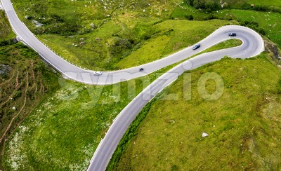 James Bond road, Furka pass, swiss Alps, Switzerland Stock Photo