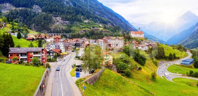 Wassen village in a swiss Alps valley, Switzerland Stock Photo