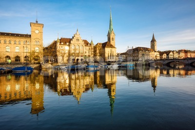 Zurich city's historical Old town facing Limmat river, Switzerland Stock Photo