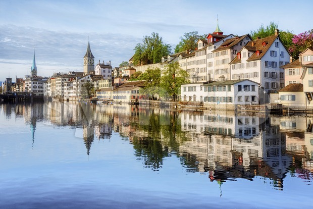 Zurich city's historical Old town on Limmat river, Switzerland Stock Photo