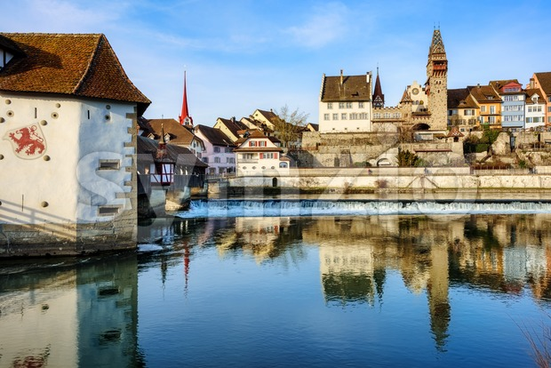 Bremgarten historical Old town on Reuss river, Aargau canton, Switzerland, is a popular one day trip destination from Zurich