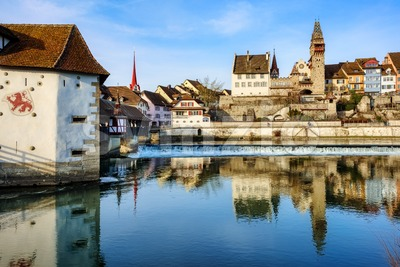 Bremgarten historical Old town, Switzerland Stock Photo