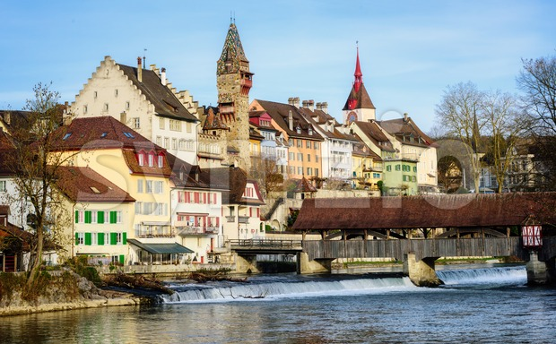 Bremgarten historical Old town, Aargau, Switzerland Stock Photo