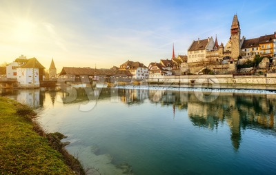 Bremgarten historical Old town on Reuss river, Aargau, Switzerland Stock Photo