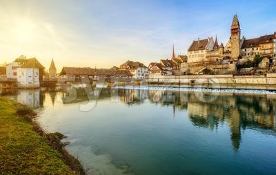 Bremgarten historical Old town on Reuss river, Aargau, Switzerland Stock Photo