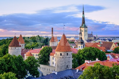 Tallinn city's Old town on sunset, Estonia Stock Photo
