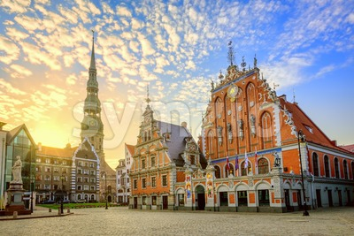 Riga city Old town center on sunrise, Latvia Stock Photo