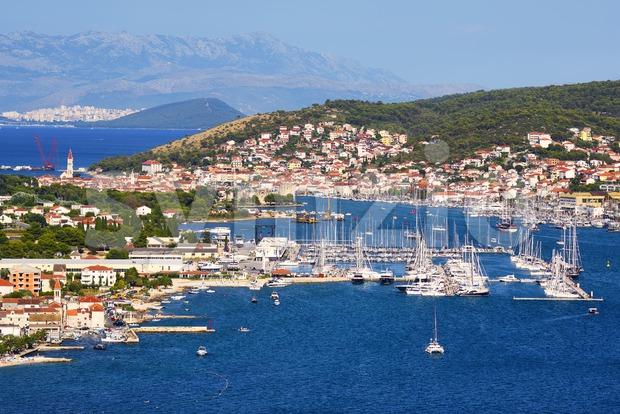 Trogir town and port, Adriatic sea, Croatia Stock Photo