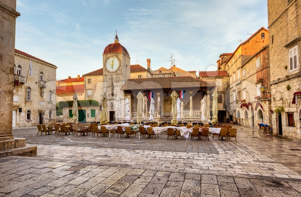 Central square of Trogir Old town, Croatia Stock Photo