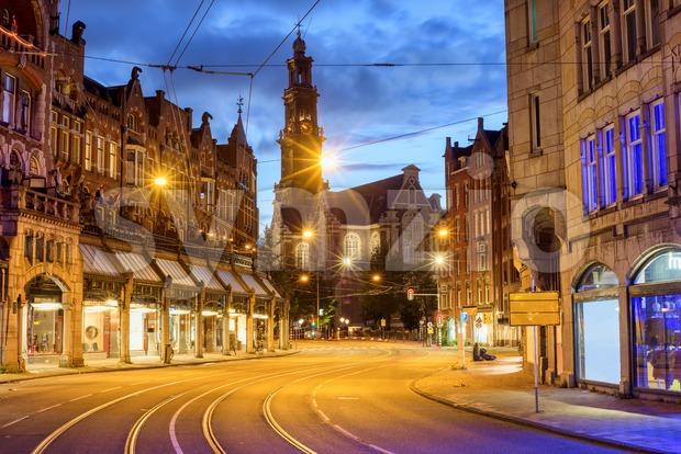 Westerkerk church in Amsterdam city center, Netherlands Stock Photo