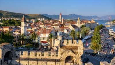 Historical walled Old town of Trogir, Croatia Stock Photo