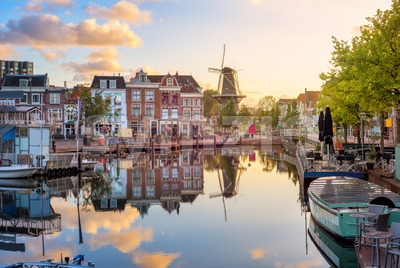 Leiden Old town cityscape, South Holland, Netherlands Stock Photo
