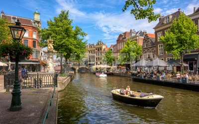New Rhine river in Leiden city center, Netherlands Stock Photo